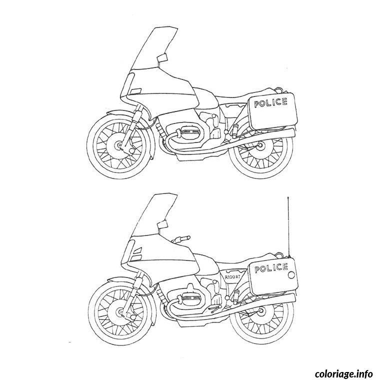 Coloriage moto de police dessin - Coloriage gendarme ...