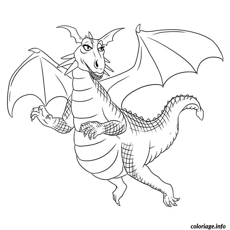 Coloriage dragon de shrek dessin - Dessin dragon simple ...