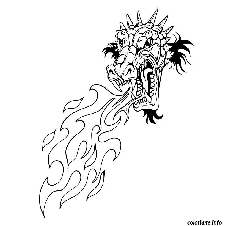 Coloriage dragon qui crache du feu - Coloriage flamme ...