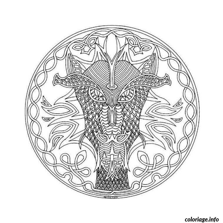 Coloriage mandala dragon dessin - Coloriage adulte difficile ...