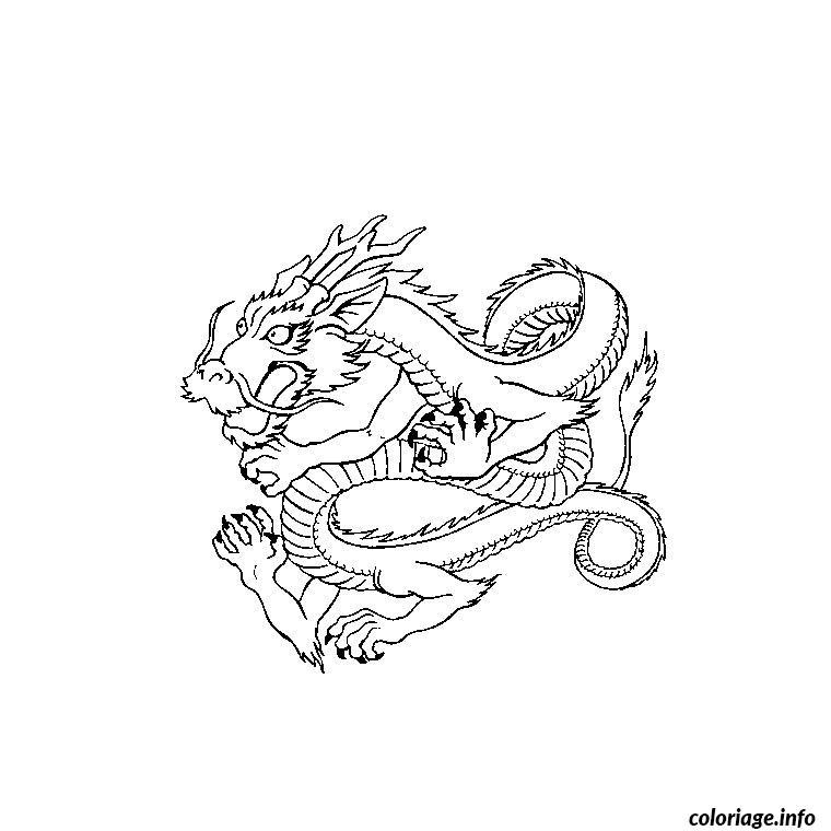 Coloriage dragon japonais effrayer dessin - Imprimer dragon ...