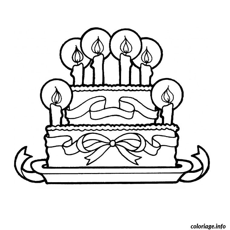 coloriage gateau anniversaire 6 ans dessin. Black Bedroom Furniture Sets. Home Design Ideas