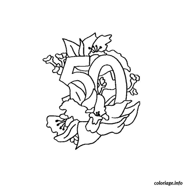 Coloriage anniversaire 50 ans dessin - Gateau d anniversaire a colorier ...