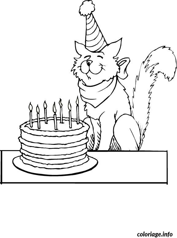 Coloriage chat anniversaire dessin - Chat a colorier adulte ...
