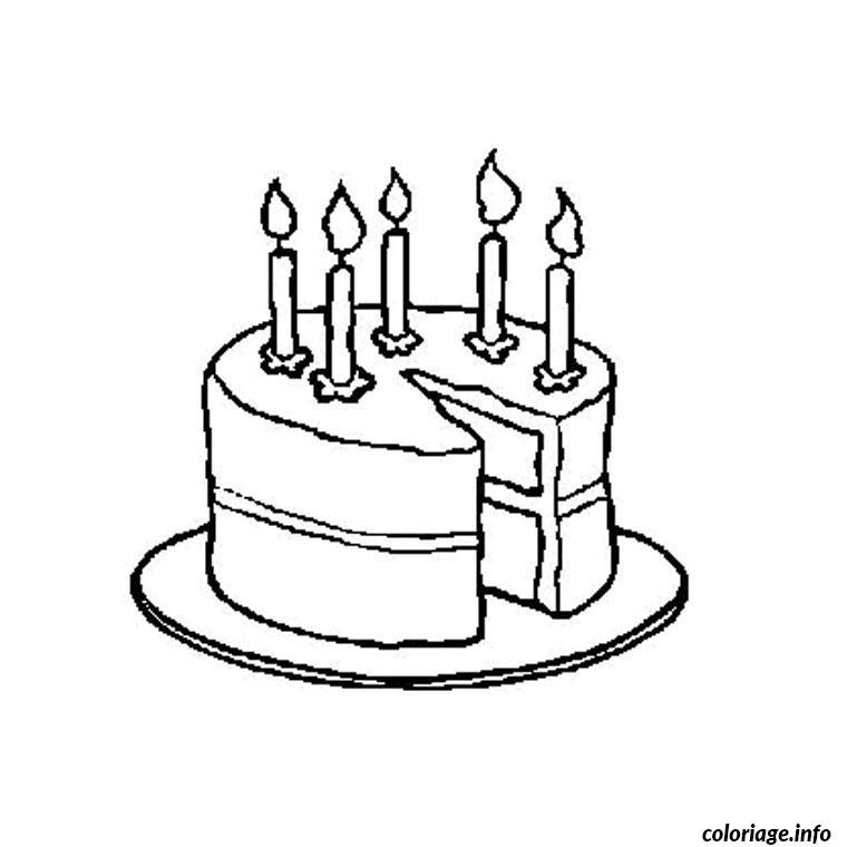coloriage gateau anniversaire 5 ans dessin imprimer - Dessin Sur Gateau