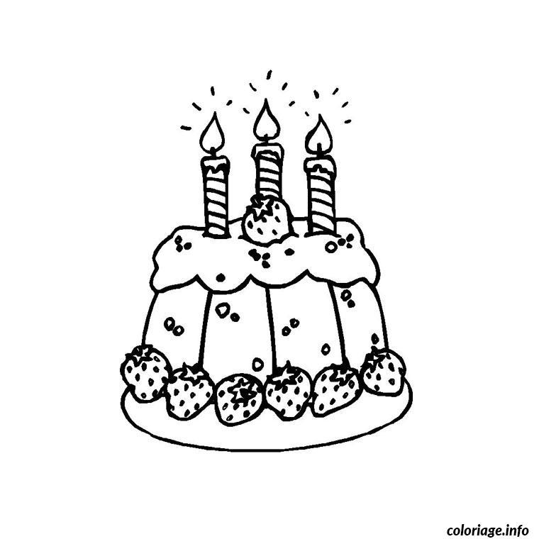 Coloriage gateau anniversaire 3 ans - Dessin gateau anniversaire 50 ans ...