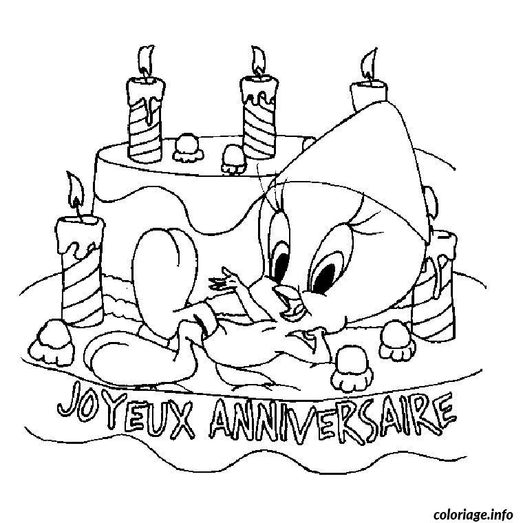 Coloriage titi anniversaire dessin - Joyeux anniversaire a colorier ...