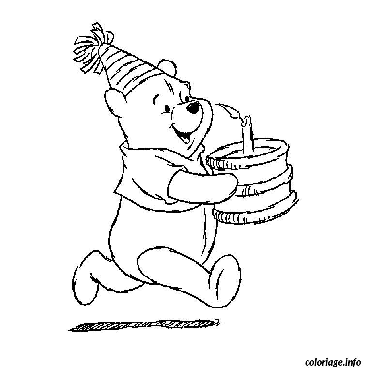 Coloriage winnie l ourson anniversaire - Coloriage d ourson a imprimer ...