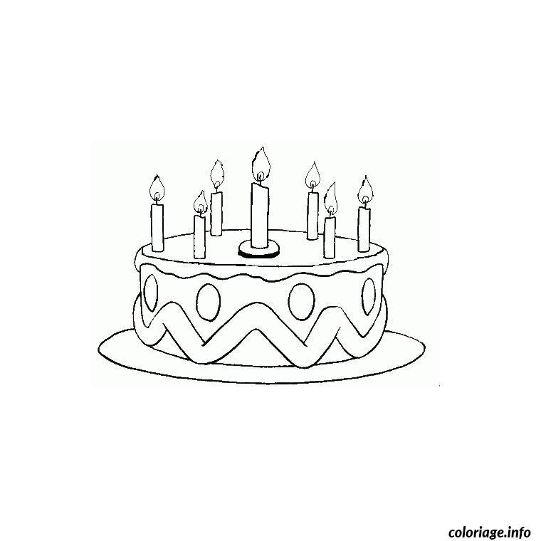 Coloriage gateau anniversaire 7 ans - JeColorie.com