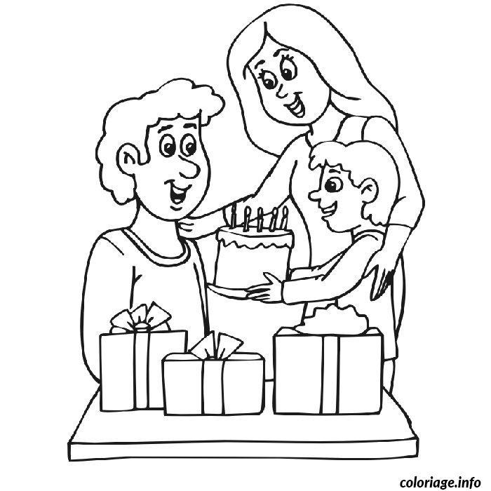 Coloriage anniversaire pour papa - Dessin cadeau anniversaire ...