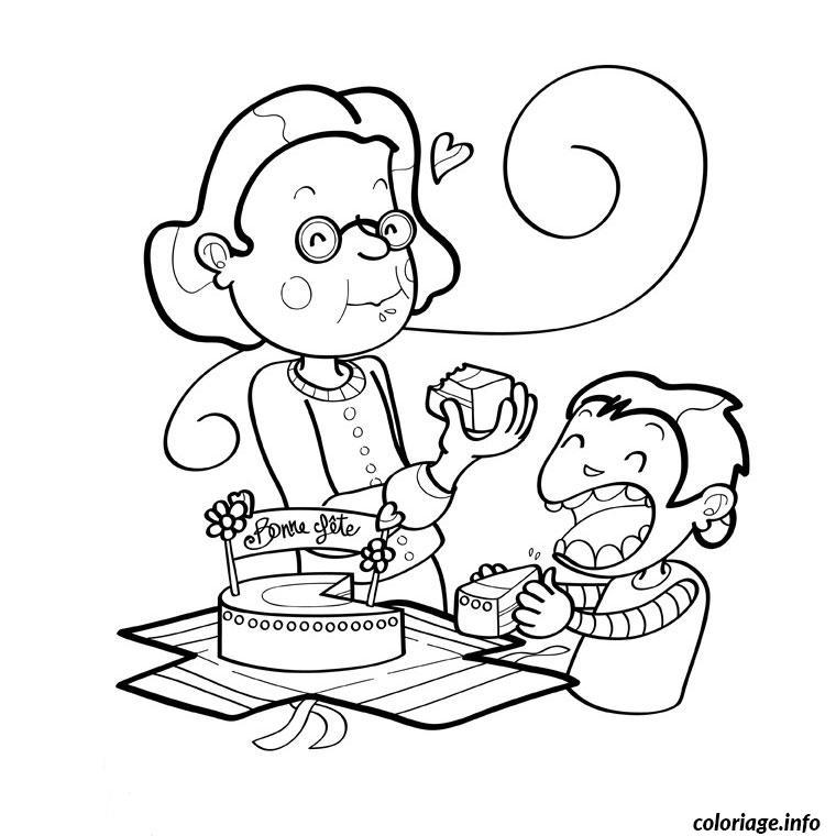 Coloriage bon anniversaire mamie dessin - Dessin de mamie ...