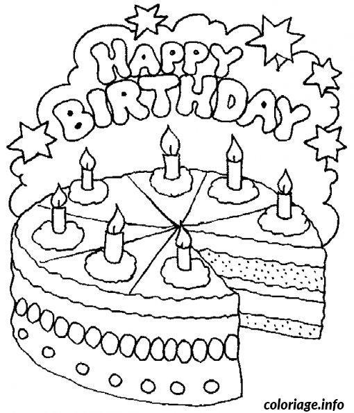 Coloriage bon anniversaire - Gateau d anniversaire a colorier ...