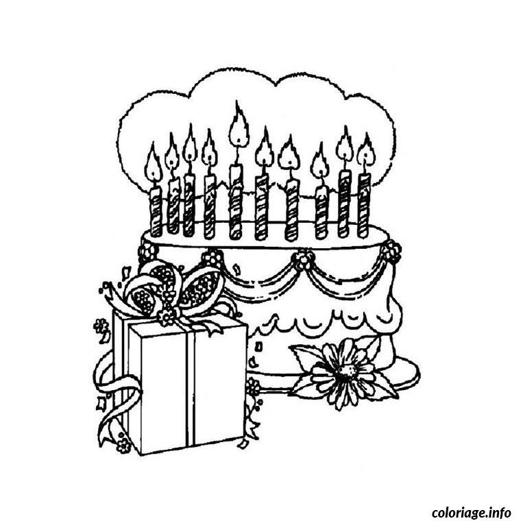 Coloriage anniversaire 10 ans dessin - Dessin gateau anniversaire 50 ans ...