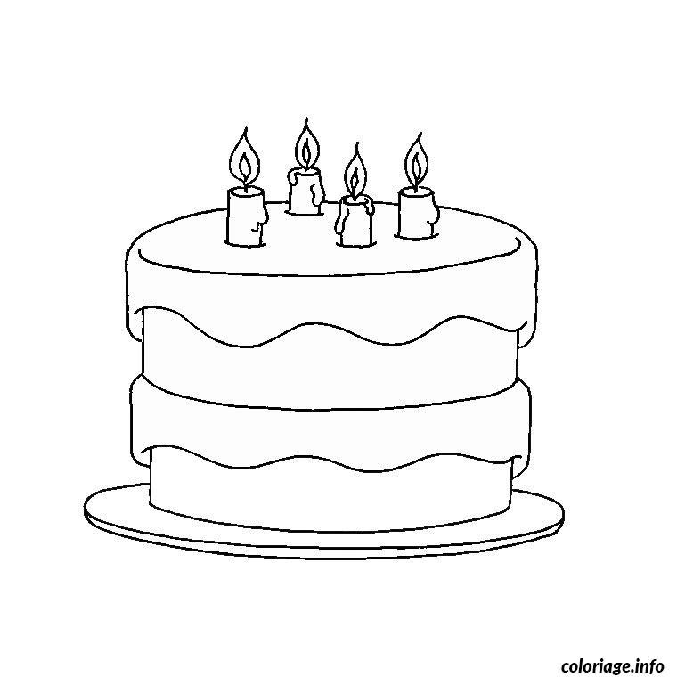 Coloriage anniversaire 4 ans dessin - Dessin de gateau d anniversaire ...