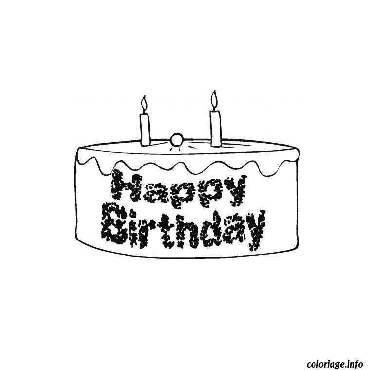 Coloriage gateau anniversaire 2 ans dessin - Gateau d anniversaire a colorier ...