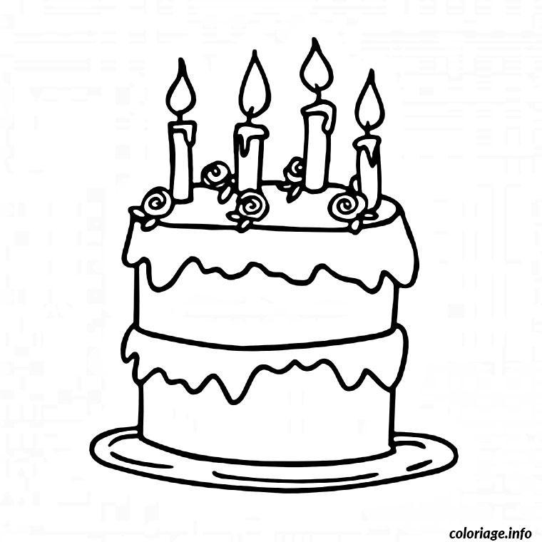 coloriage gateau d anniversaire cremeux dessin