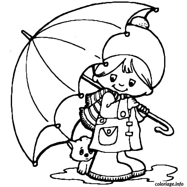 Coloriage petit garcon et son chien sous le parapluie dessin - Dessin a imprimer garcon ...