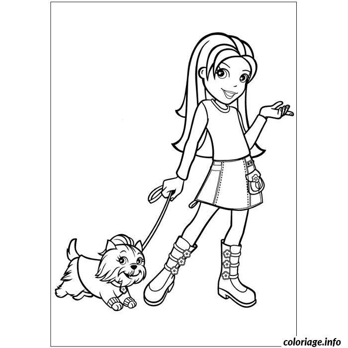 coloriage chien polly pocket dessin imprimer - Coloriage Chien
