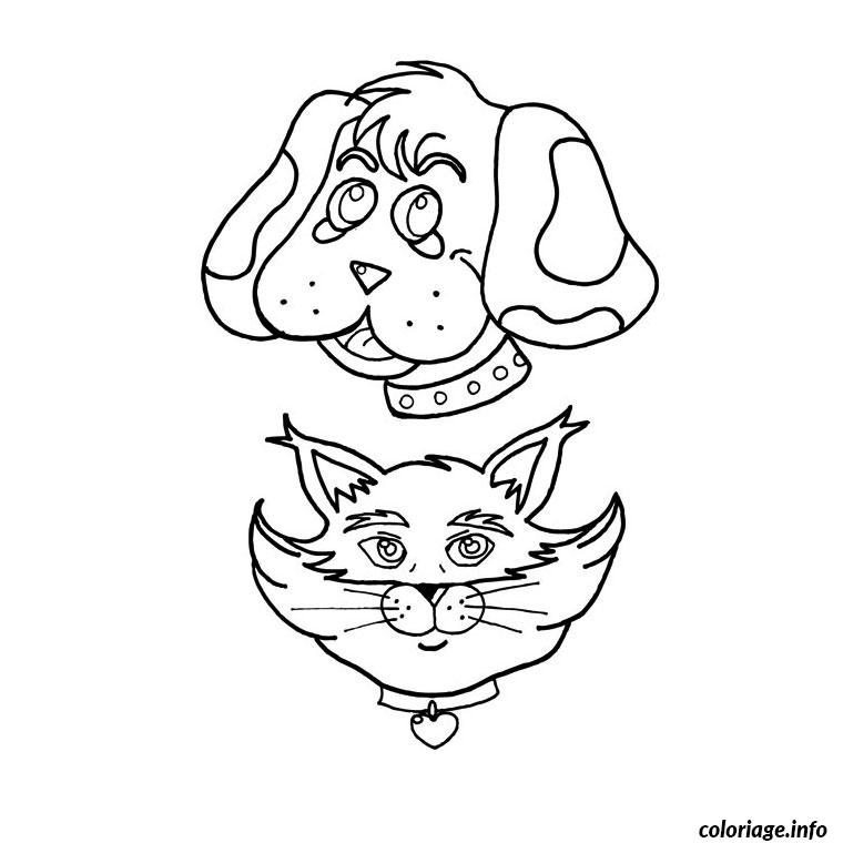 Coloriage chat chien - Dessin chat rigolo ...