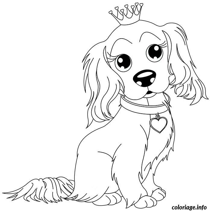 Dessin chien king charles avec sa couronne Coloriage Gratuit à Imprimer