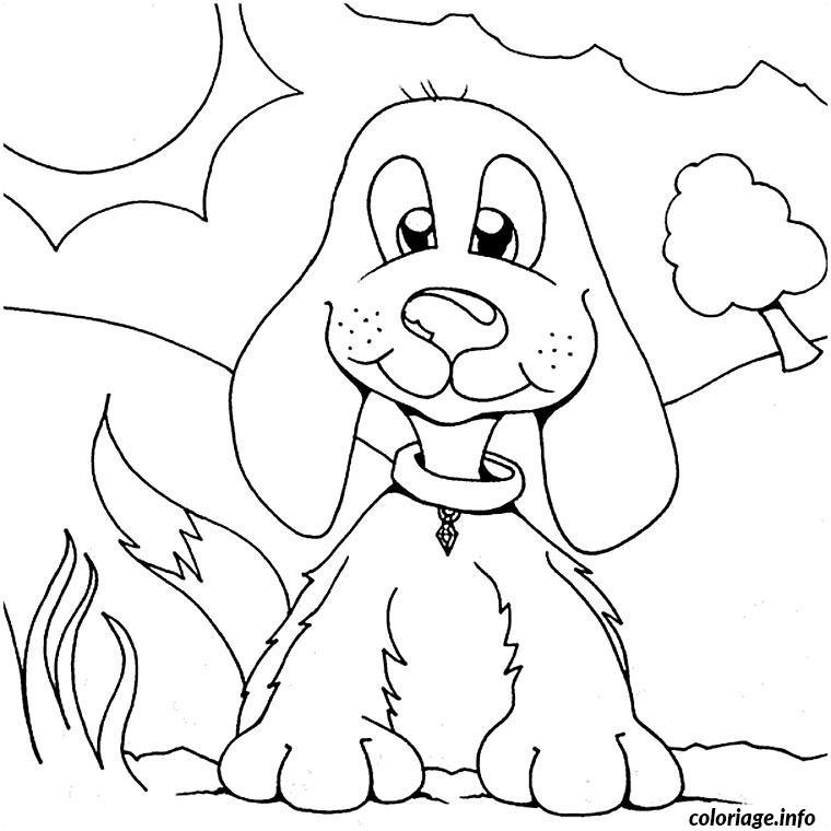 Coloriage petit chien aux longues oreilles dessin - Dessin de petit chien ...