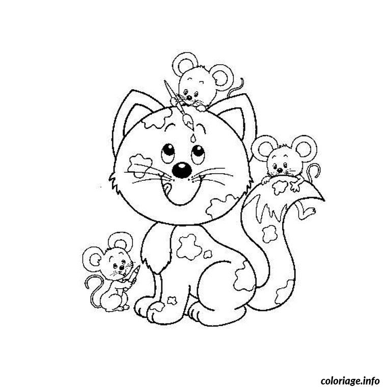 Coloriage chat et souris dessin - Un chat a colorier ...