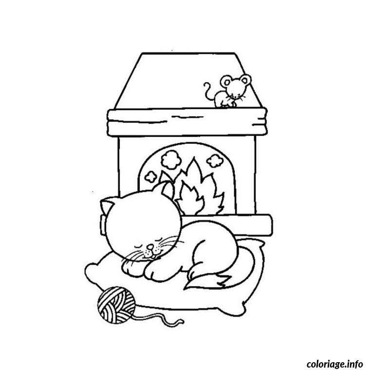 Coloriage chat qui dort dessin - Coloriage gratuit chat ...