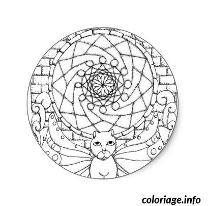 Coloriage Mandala Chat Dessin