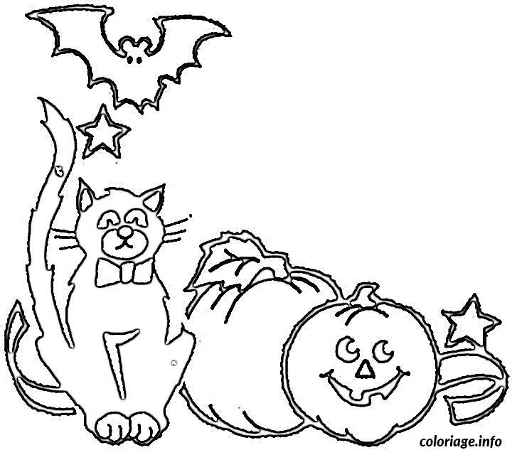 Coloriage halloween de chat - Dessin chat halloween ...