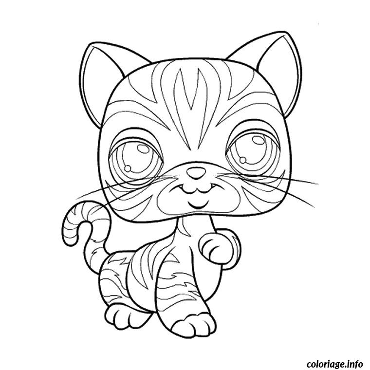 Coloriage chat petshop dessin - Coloriage de bebe chat ...