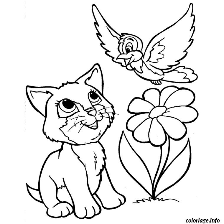 Chat Oiseau Fleur Coloriage 2218 on Spring Bee Coloring Pages 9 2