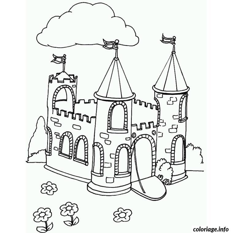 Coloriage Beau Chateau Dessin Chat à imprimer