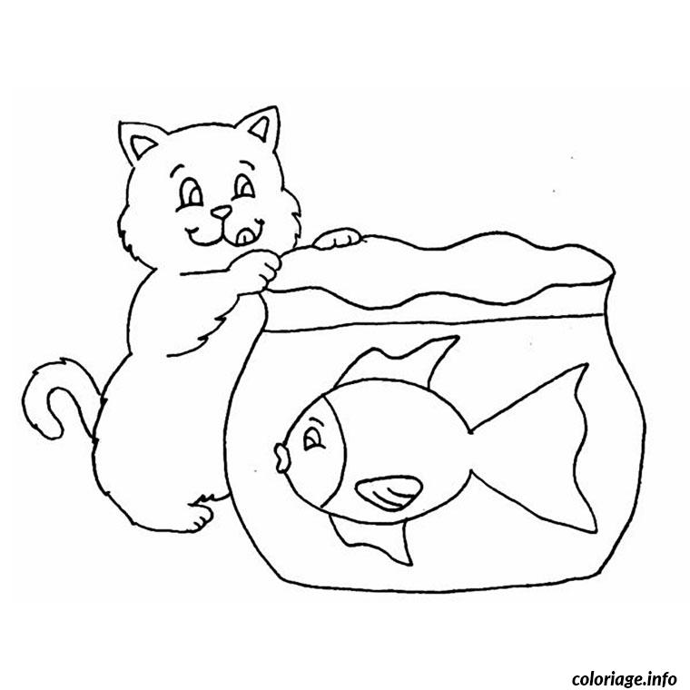 Coloriage chat et poisson en bocal dessin for Aquarium poisson rouge dessin