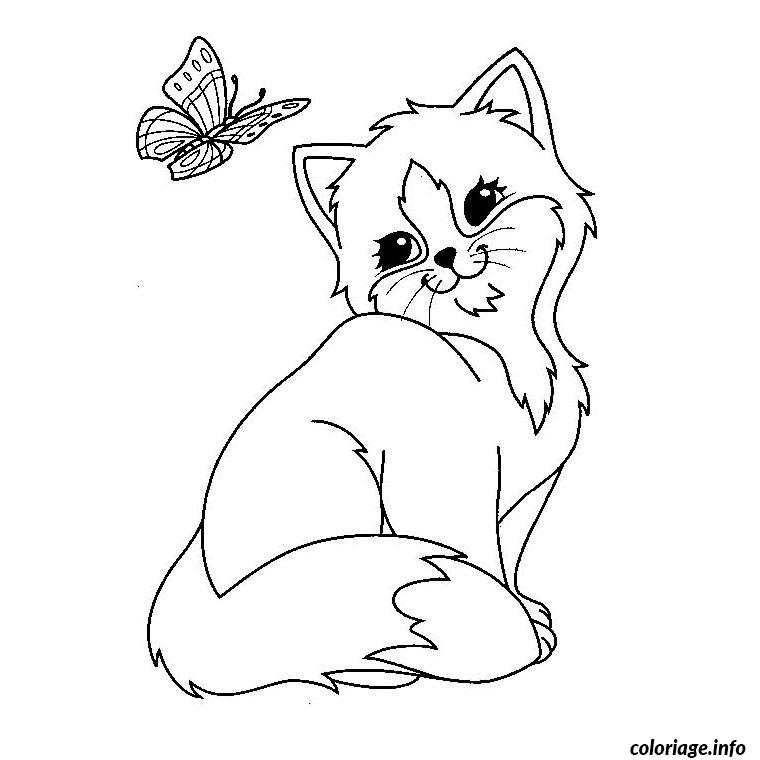 Coloriage chaton mignon - JeColorie.com