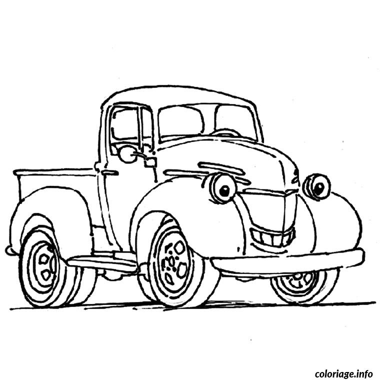 Coloriage Camionnette.Coloriage Camionnette Souriante Jecolorie Com