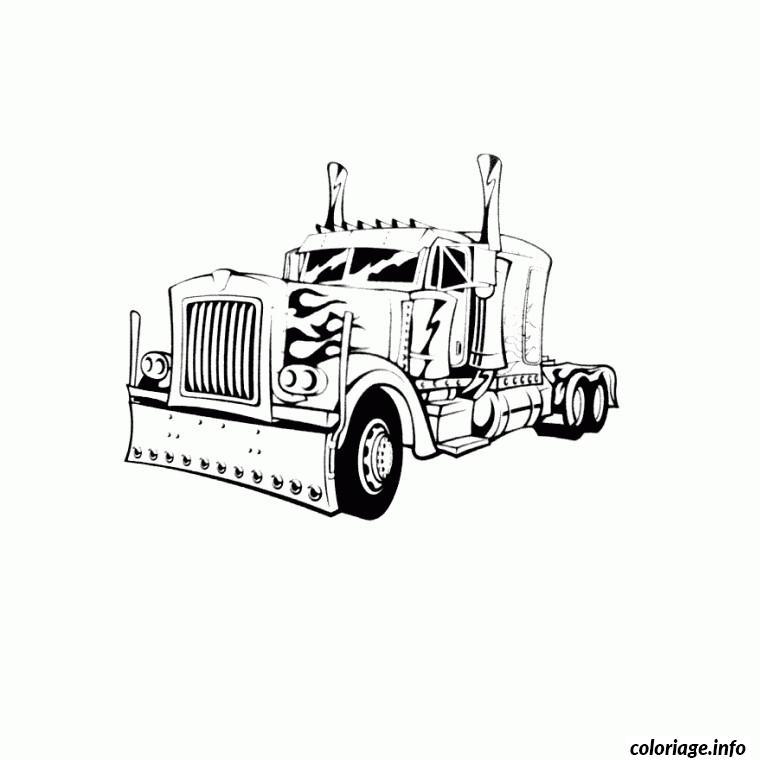 Coloriage camion americain de profil dessin - Camion americain dessin ...