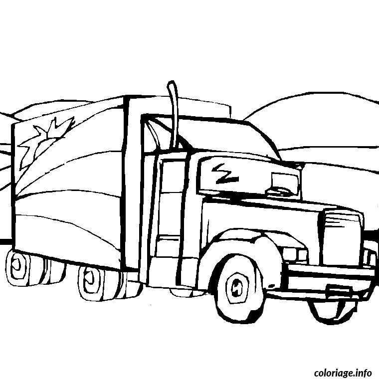 Coloriage camion remorque - Coloriage tracteur avec remorque ...