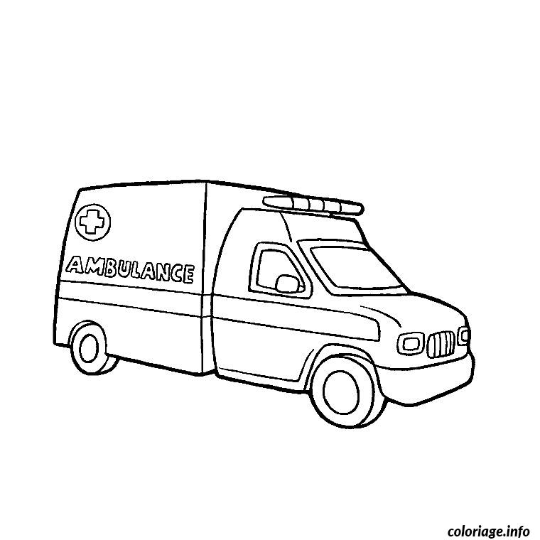 Coloriage camion ambulance dessin - Dessin ambulance ...