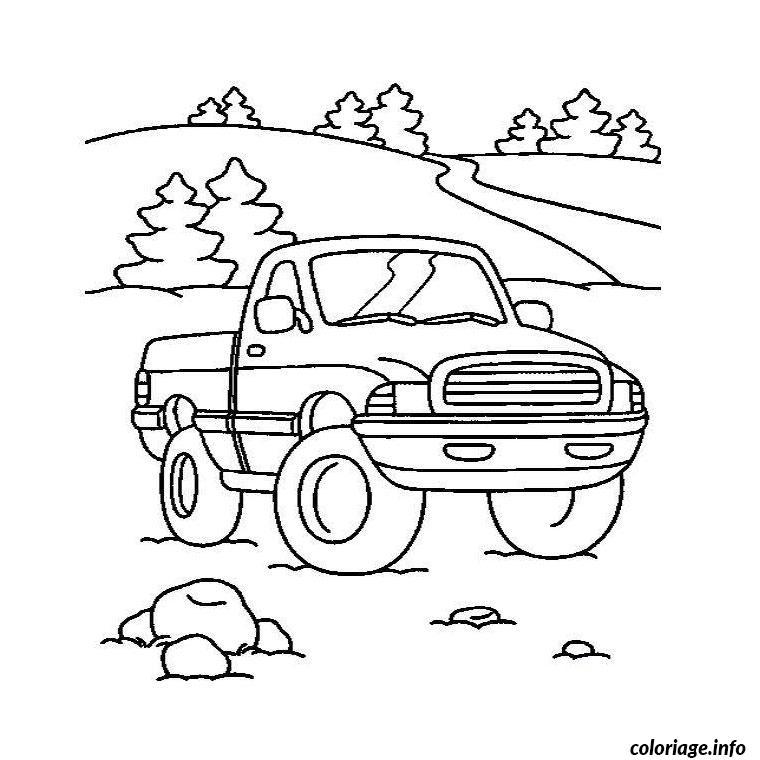 Coloriage Camionnette.Coloriage Camion Americain Dessin