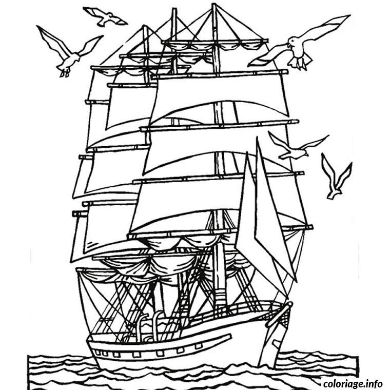 Coloriage mer et bateau dessin - Coloriage bateau de pirate ...