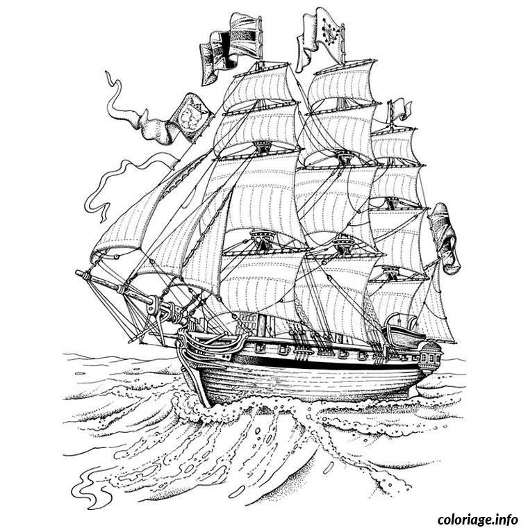 Coloriage bateau capitaine crochet dessin - Coloriage bateau ...