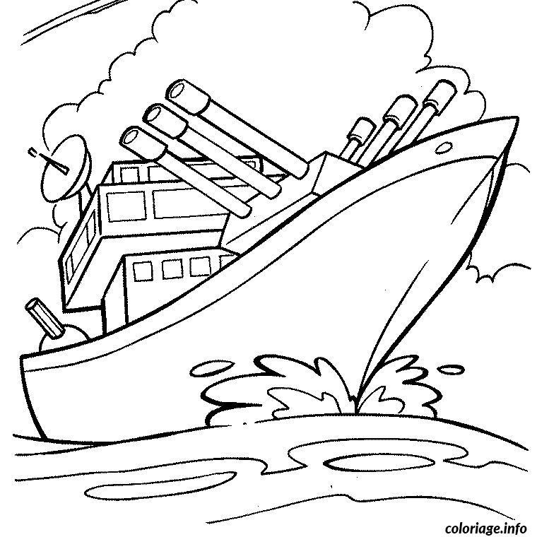 coloriage bateau de guerre dessin gratuit