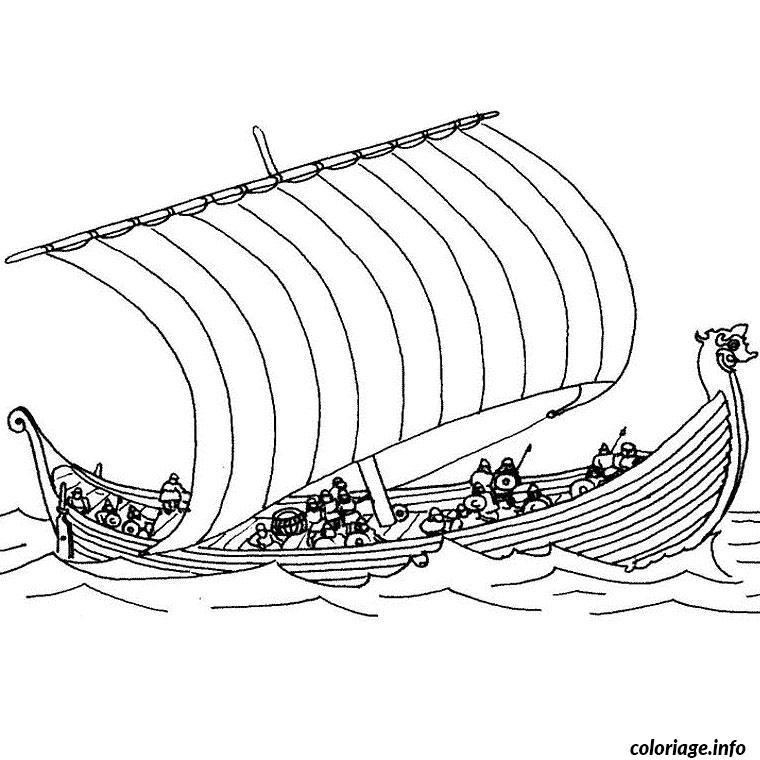 bateau viking coloriage dessin 2278