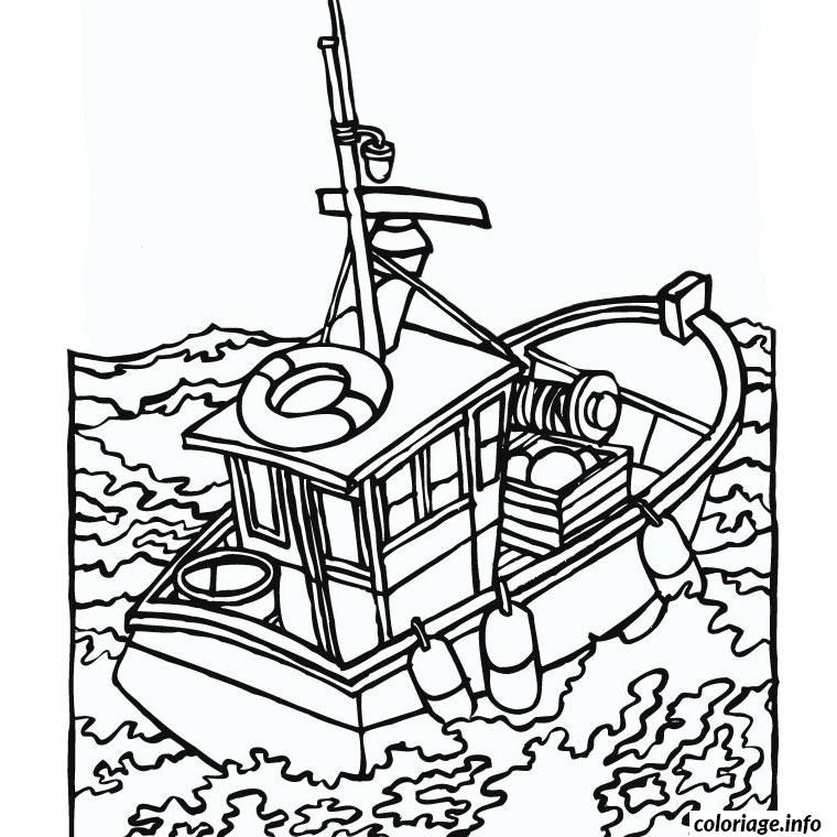 Coloriage bateau de peche - JeColorie.com