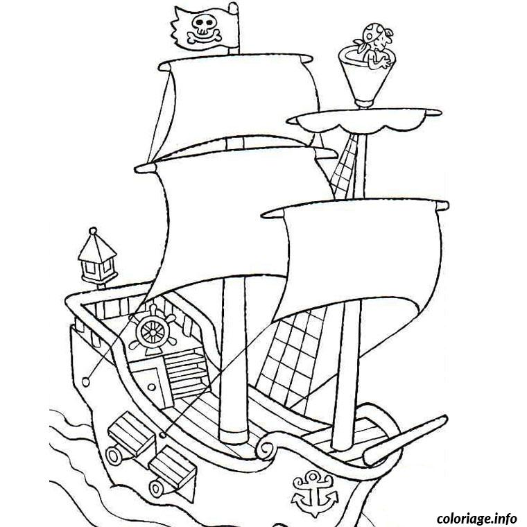 Coloriage bateau de pirate - Dessins de pirates ...