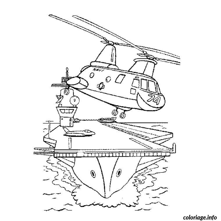 Coloriage bateau militaire - JeColorie.com