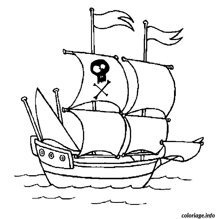 Coloriage bateau pirate - Tete de pirate dessin ...