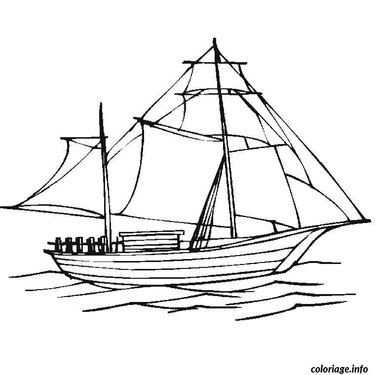 Coloriage bateau voile - Dessin de bateau ...