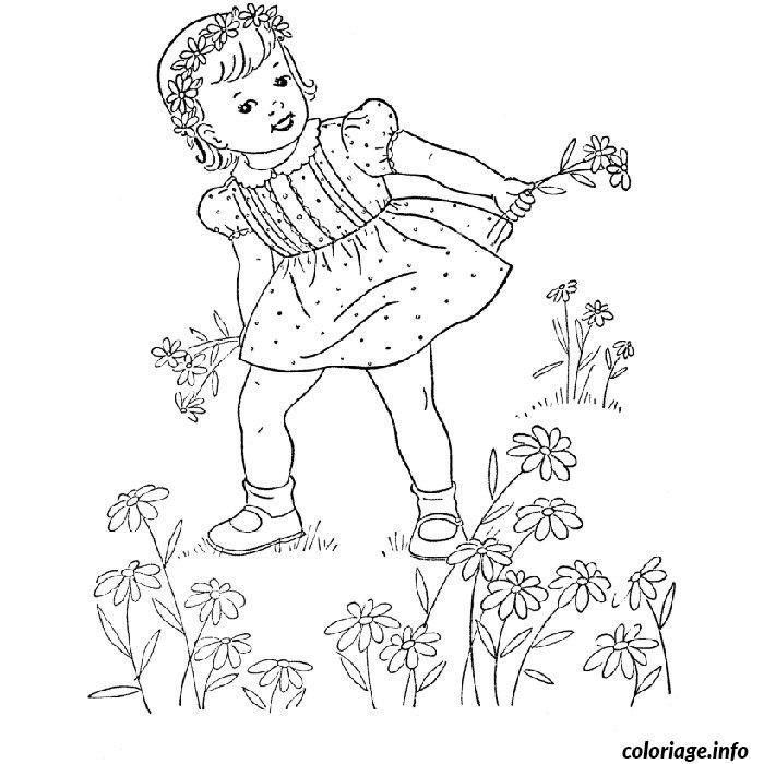 Coloriage Fille Cueillir Des Fleurs Jecolorie Com
