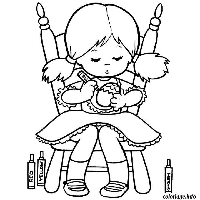 coloriage fille paques dessin imprimer - Coloriage Fille
